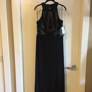 Black/Illusion Beaded Gown